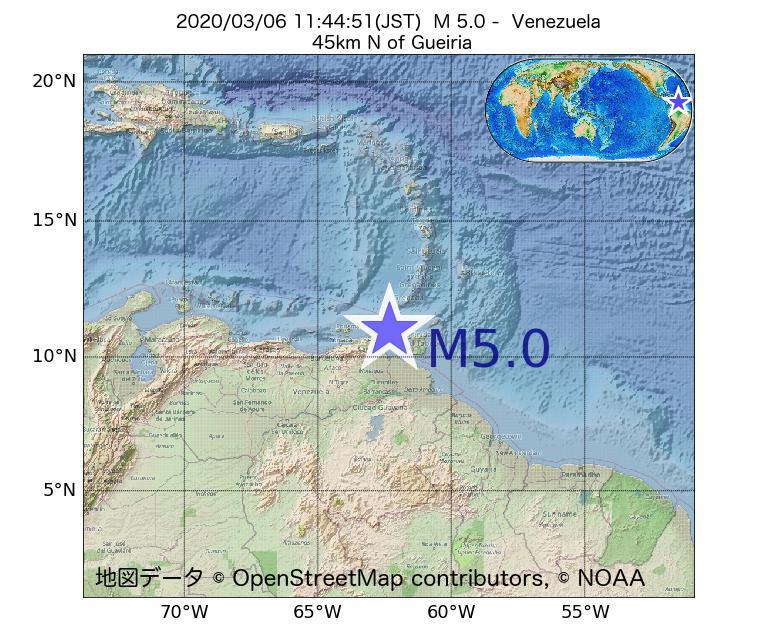 2020年03月06日 11時44分 - ベネズエラでM5.0