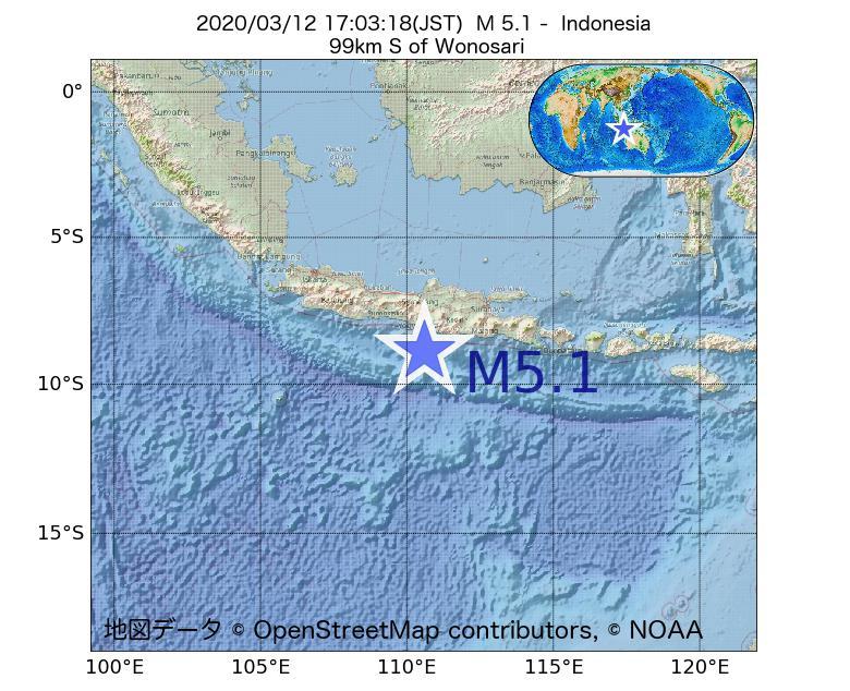 2020年03月12日 17時03分 - インドネシアでM5.1