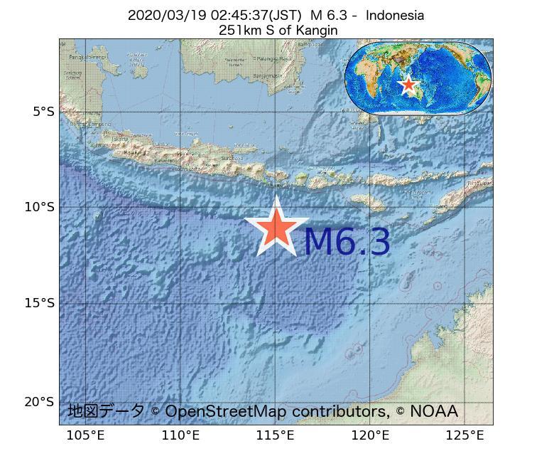 2020年03月19日 02時45分 - インドネシアでM6.3