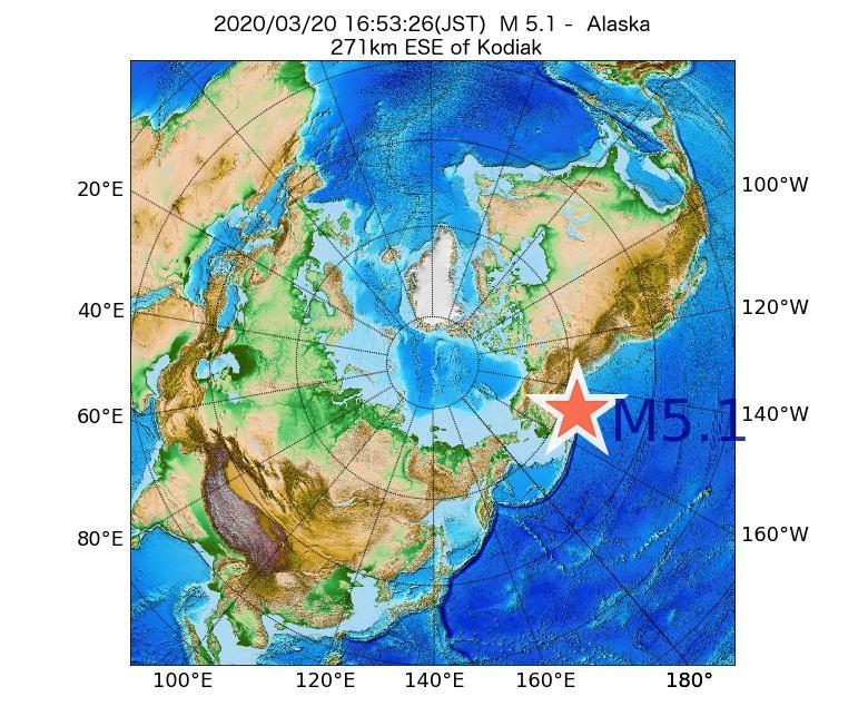 2020年03月20日 16時53分 - アラスカ州でM5.1