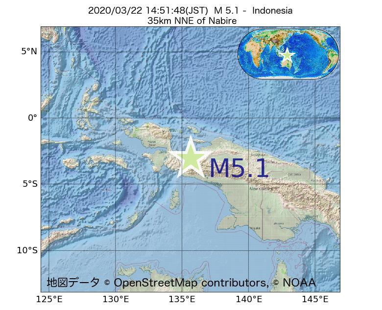 2020年03月22日 14時51分 - インドネシアでM5.1
