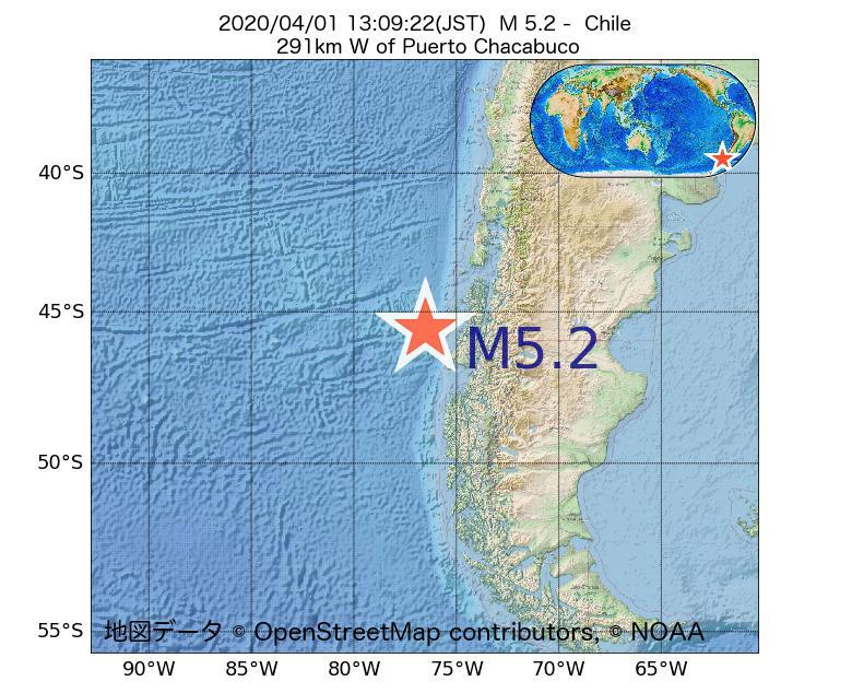 2020年04月01日 13時09分 - チリでM5.2