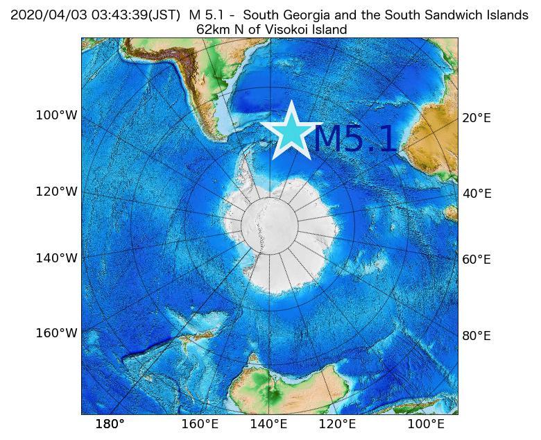 2020年04月03日 03時43分 - サウスサンドウィッチ諸島付近でM5.1