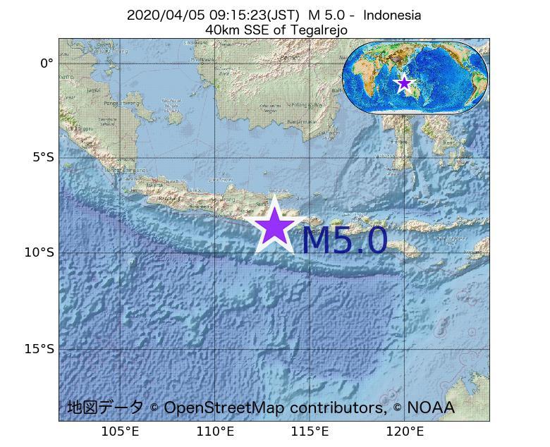 2020年04月05日 09時15分 - インドネシアでM5.0