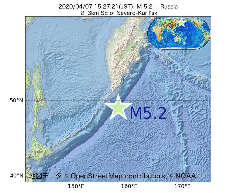 2020年04月07日 15時27分 - ロシアでM5.2
