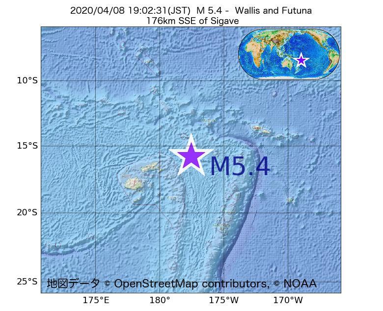 2020年04月08日 19時02分 - ウォリス・フツナ諸島でM5.4