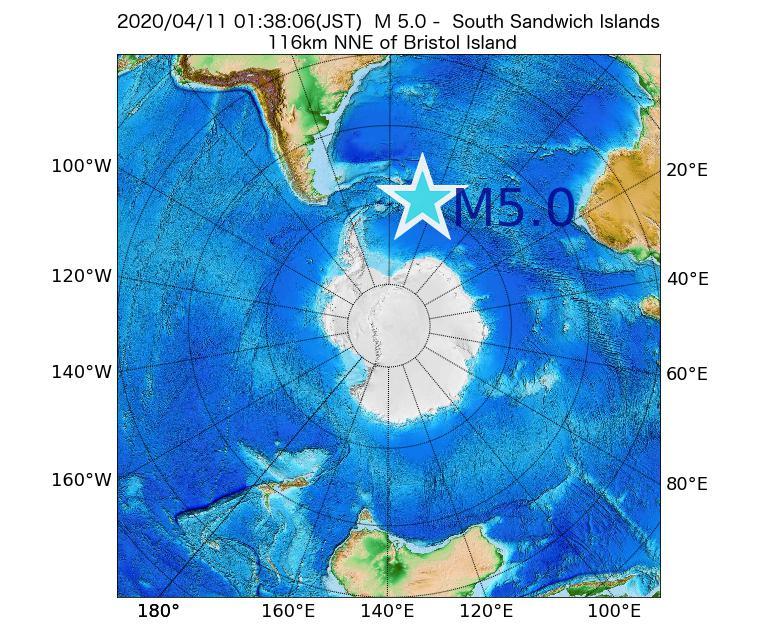 2020年04月11日 01時38分 - サウスサンドウィッチ諸島付近でM5.0