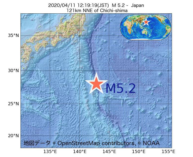 2020年04月11日 12時19分 - 日本でM5.2