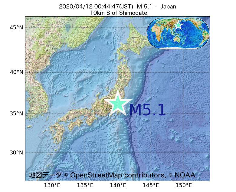 2020年04月12日 00時44分 - 日本でM5.1