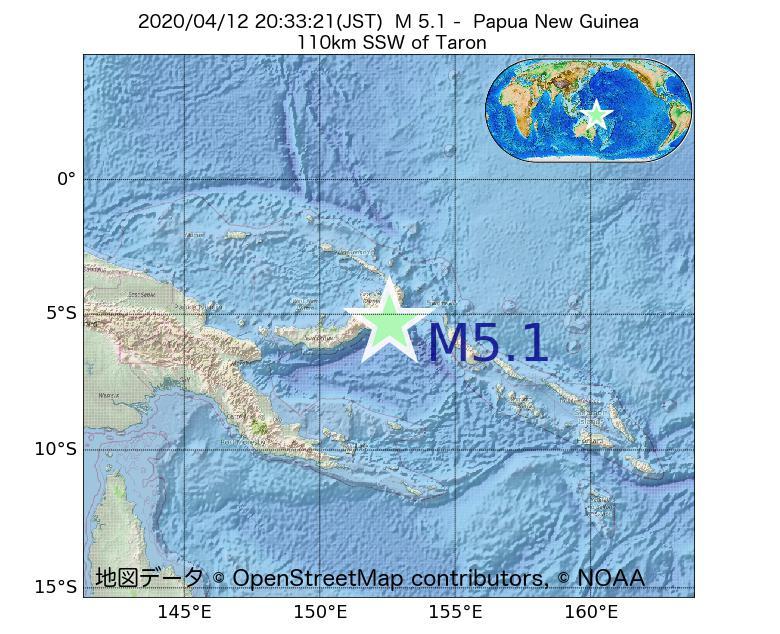2020年04月12日 20時33分 - パプアニューギニアでM5.1