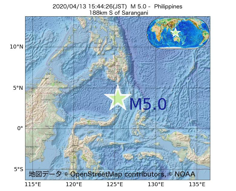 2020年04月13日 15時44分 - フィリピンでM5.0