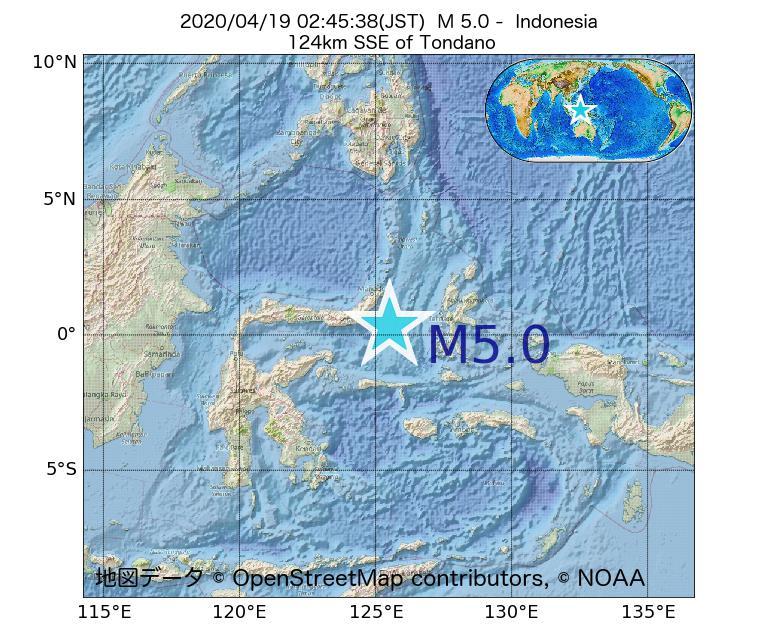 2020年04月19日 02時45分 - インドネシアでM5.0