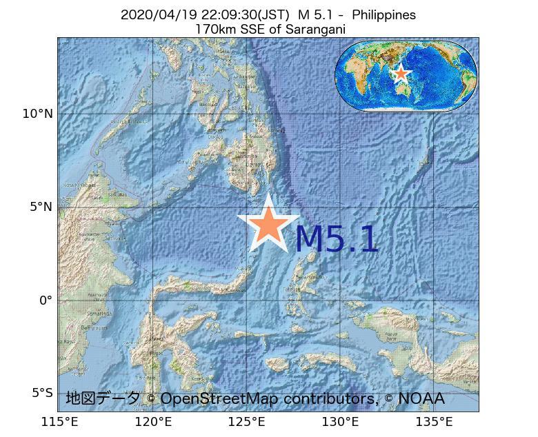 2020年04月19日 22時09分 - フィリピンでM5.1