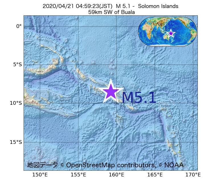 2020年04月21日 04時59分 - ソロモン諸島でM5.1
