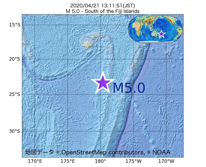 2020年04月21日 13時11分 - フィジー諸島の南でM5.0