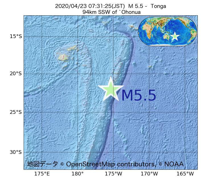2020年04月23日 07時31分 - トンガでM5.5