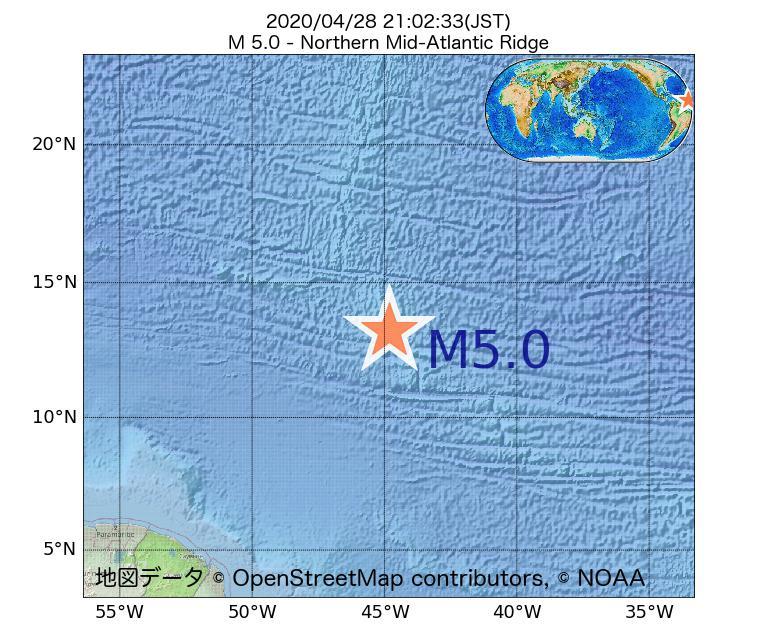 2020年04月28日 21時02分 - 大西洋中央海嶺北部でM5.0