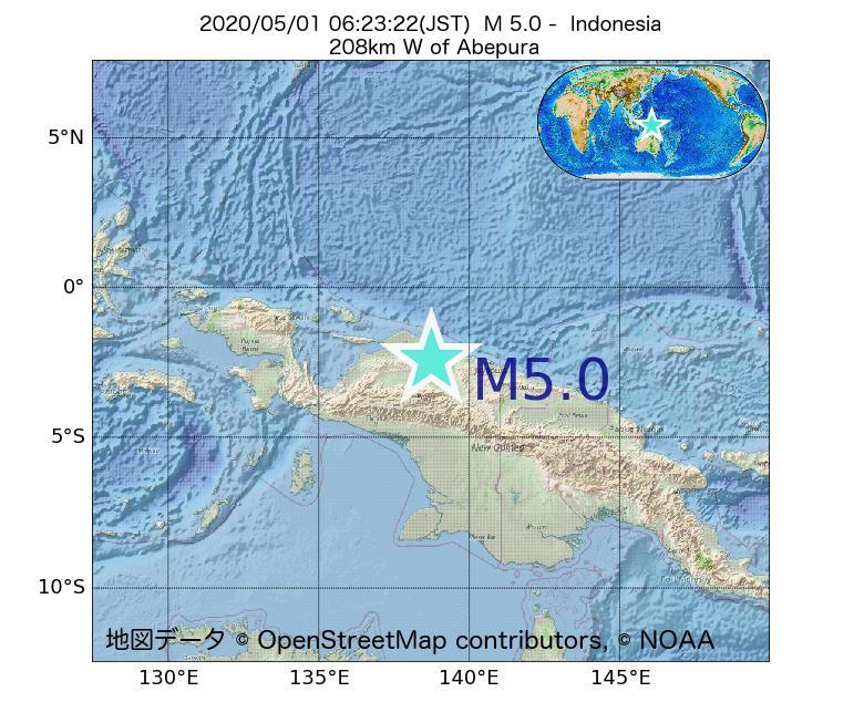 2020年05月01日 06時23分 - インドネシアでM5.0