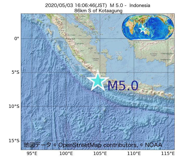 2020年05月03日 16時06分 - インドネシアでM5.0