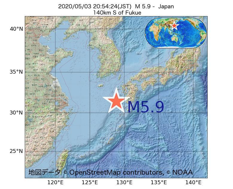 2020年05月03日 20時54分 - 日本でM5.9