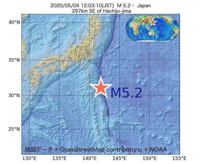 2020年05月04日 12時03分 - 日本でM5.2