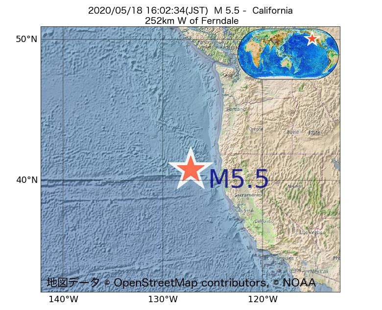 2020年05月18日 16時02分 - カリフォルニア州でM5.5