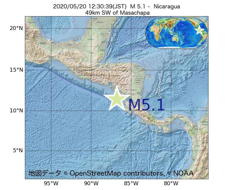 2020年05月20日 12時30分 - ニカラグアでM5.1
