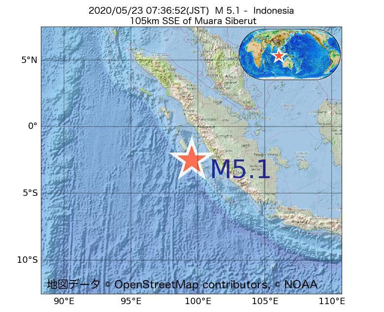 2020年05月23日 07時36分 - インドネシアでM5.1