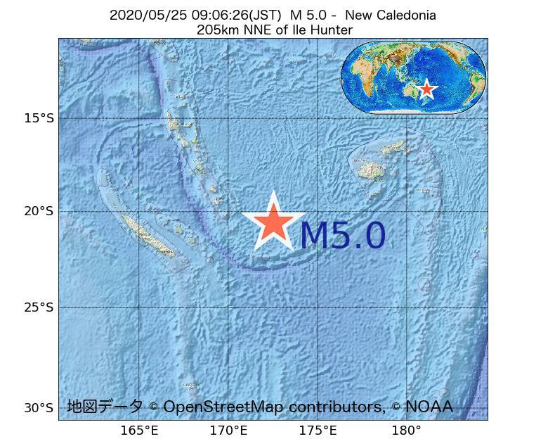 2020年05月25日 09時06分 - ニューカレドニアでM5.0