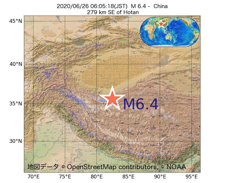 2020年06月26日 06時05分 - 中国でM6.4