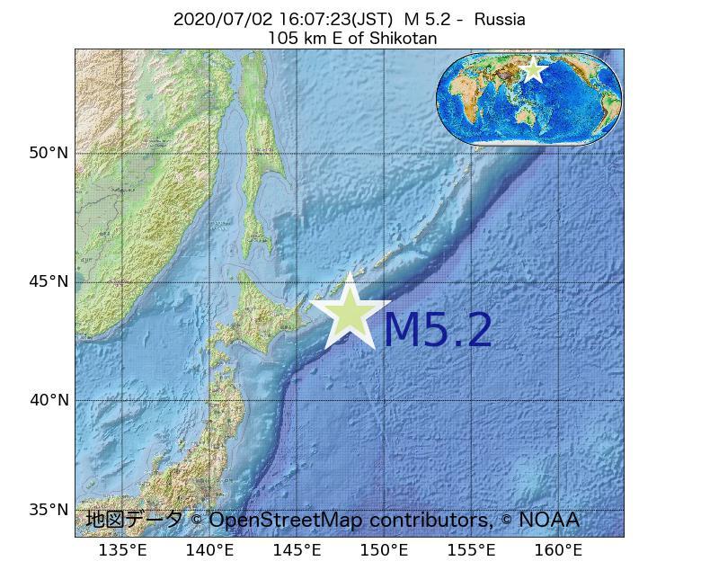 2020年07月02日 16時07分 - ロシアでM5.2