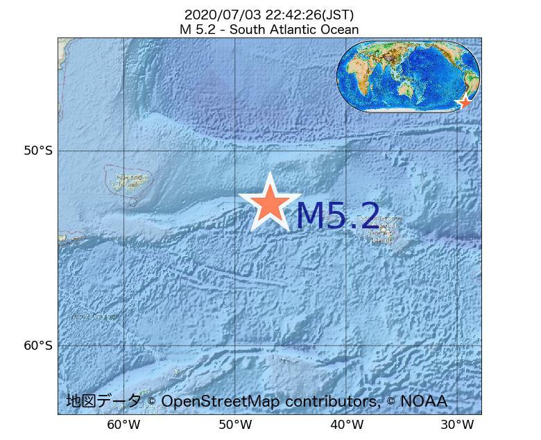 2020年07月03日 22時42分 - 南大西洋でM5.2