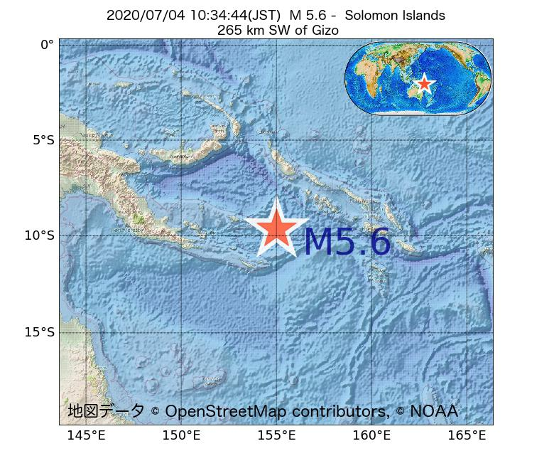 2020年07月04日 10時34分 - ソロモン諸島でM5.6
