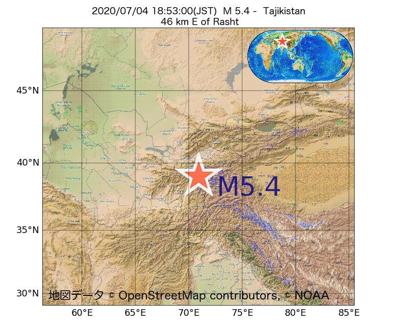 2020年07月04日 18時53分 - タジキスタンでM5.4
