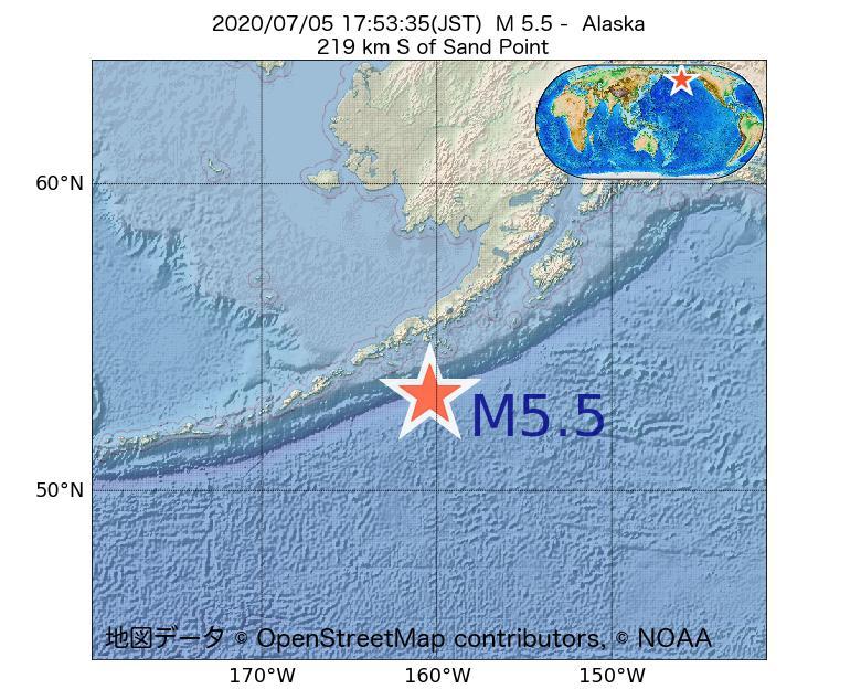 2020年07月05日 17時53分 - アラスカ州でM5.5