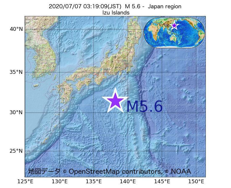 2020年07月07日 03時19分 - 日本周辺でM5.6