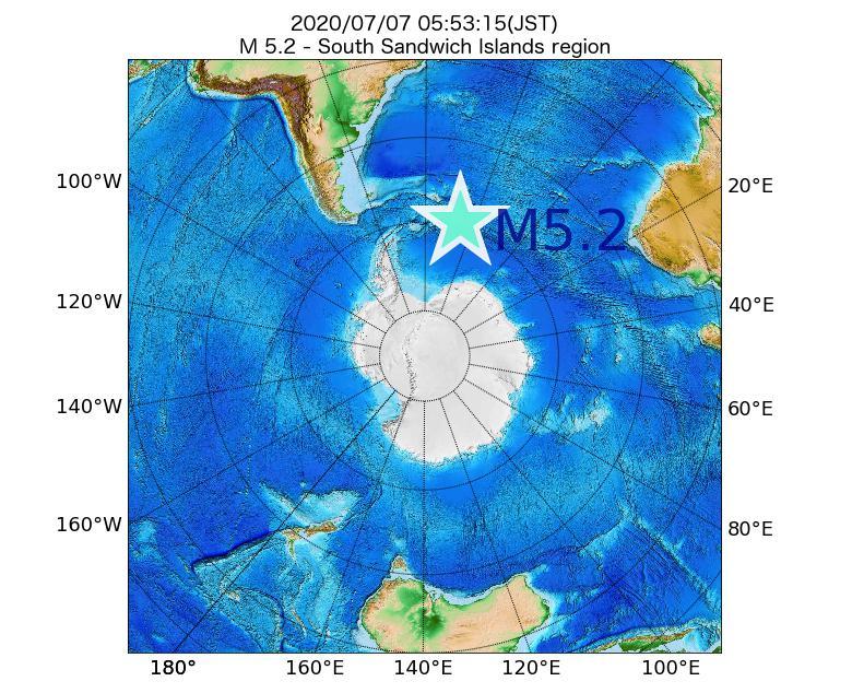2020年07月07日 05時53分 - South Sandwich Islands regionでM5.2