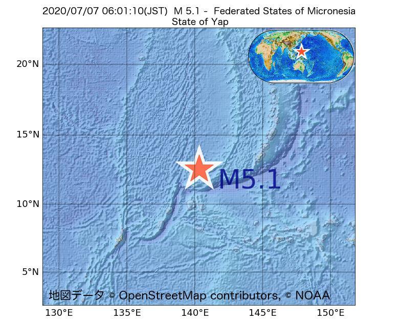 2020年07月07日 06時01分 - Federated States of MicronesiaでM5.1