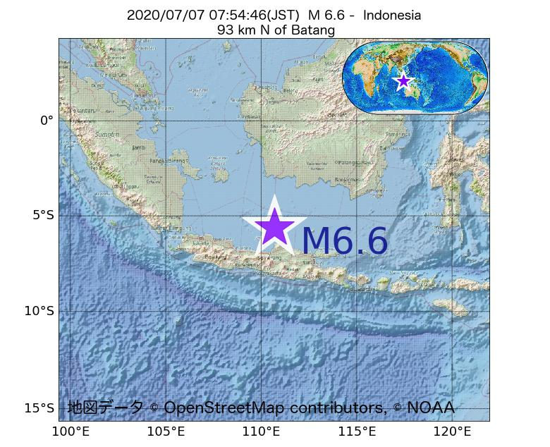 2020年07月07日 07時54分 - インドネシアでM6.6