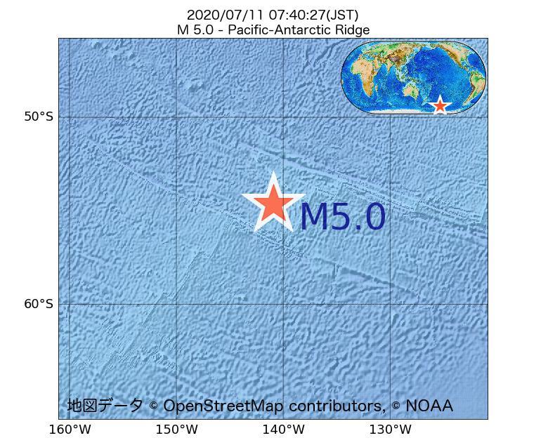 2020年07月11日 07時40分 - 太平洋南極海嶺でM5.0