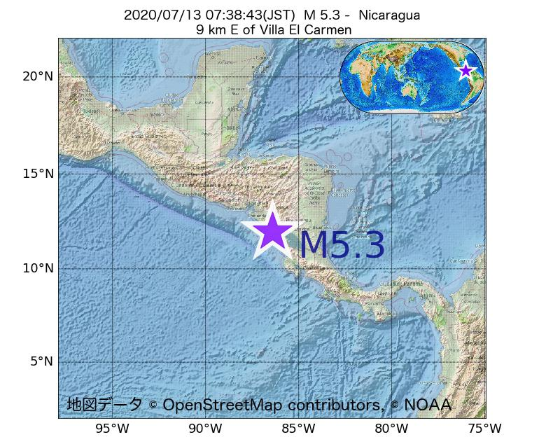 2020年07月13日 07時38分 - ニカラグアでM5.3
