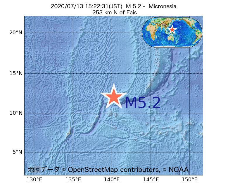 2020年07月13日 15時22分 - ミクロネシアでM5.2