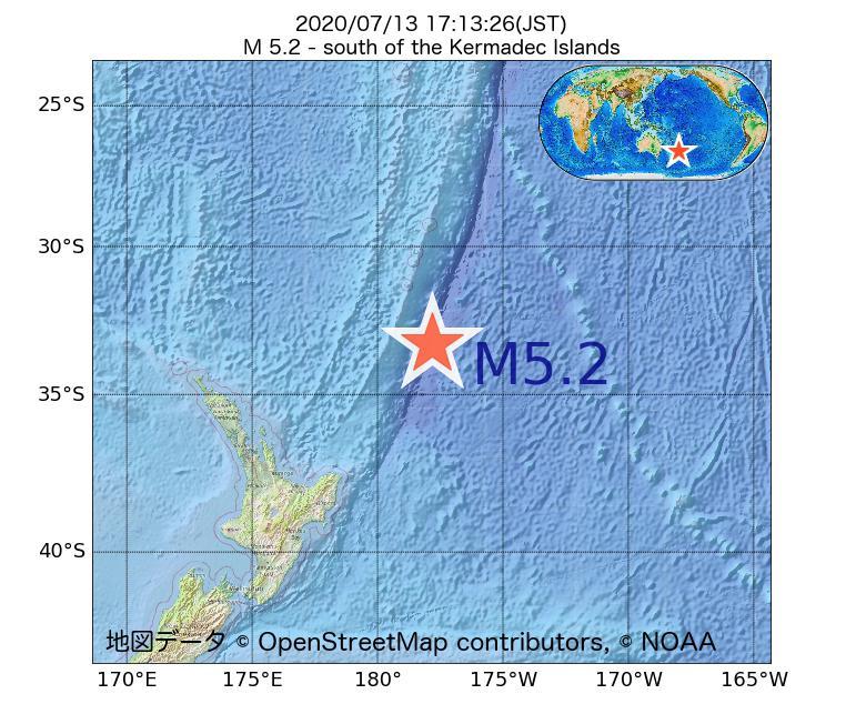 2020年07月13日 17時13分 - ケルマディック諸島の南でM5.2