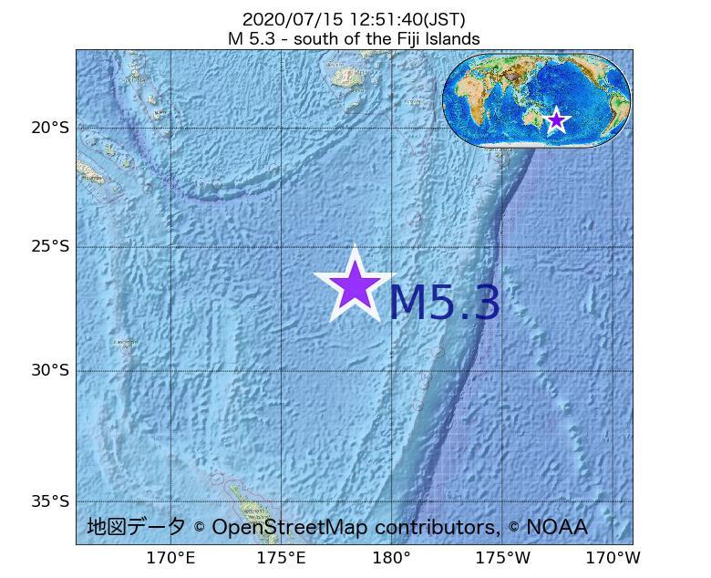 2020年07月15日 12時51分 - フィジー諸島の南でM5.3