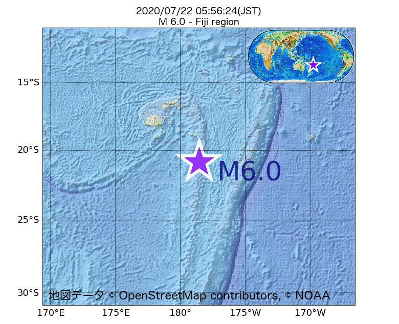 2020年07月22日 05時56分 - フィジー近海でM6.0
