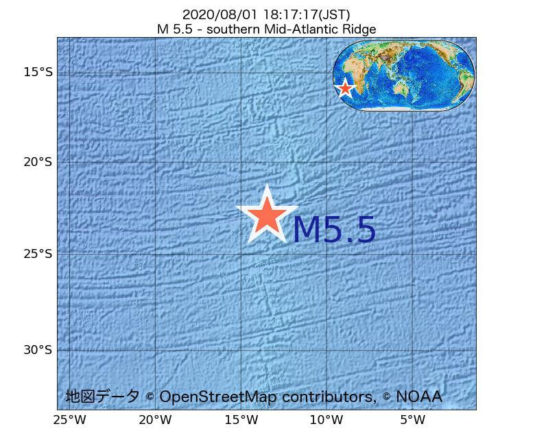 2020年08月01日 18時17分 - 大西洋中央海嶺でM5.5