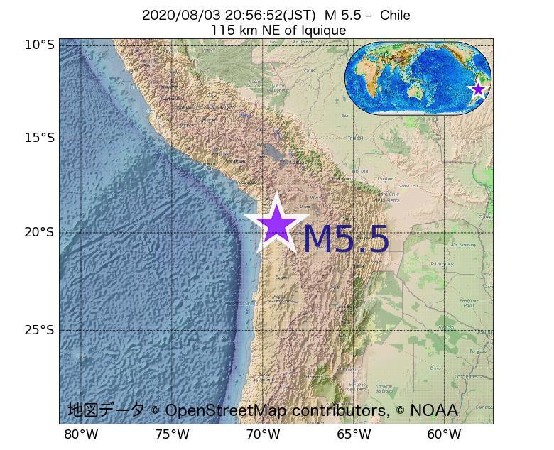 2020年08月03日 20時56分 - チリでM5.5