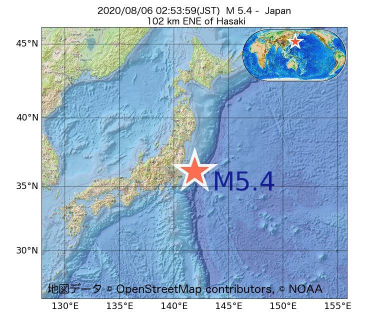 2020年08月06日 02時53分 - 日本でM5.4