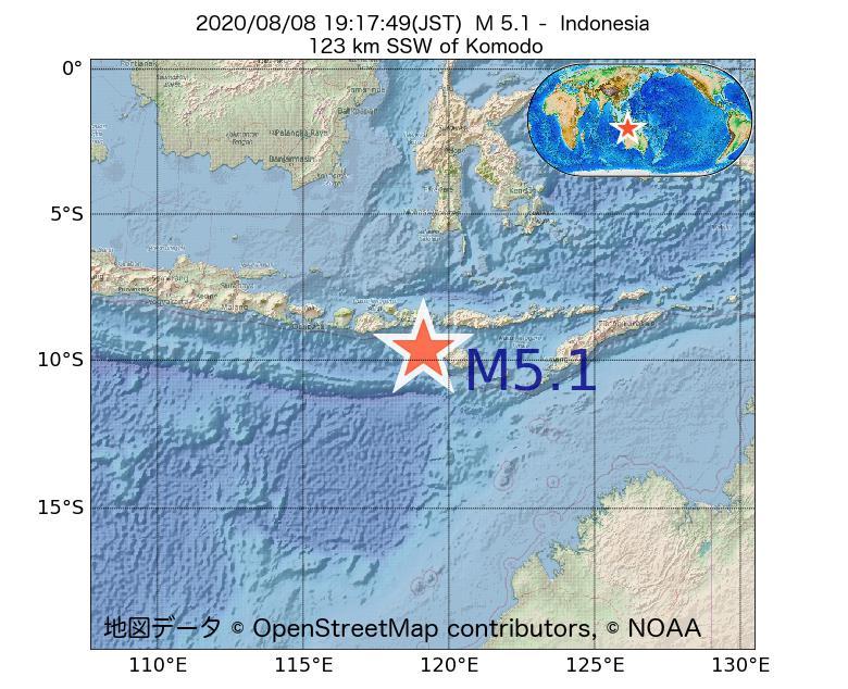2020年08月08日 19時17分 - インドネシアでM5.1