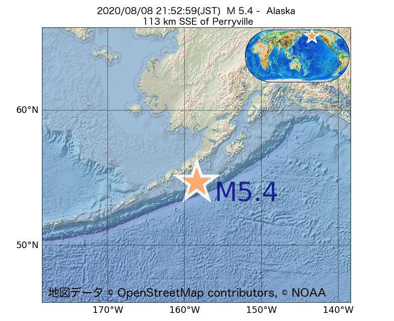 2020年08月08日 21時52分 - アラスカ州でM5.4
